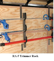 Trimmer Rack will securely transport 3 trimmers.