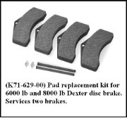 Disc Brake Pad Replacement Kit for 6K & 8K FREE SHIPPING LOWER 48 STATES**