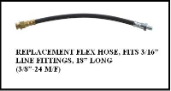 "18"" Long Rubber Flex Hose w/ 3/8 Male & Female Ends (Drum) (16196)"