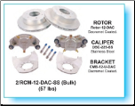 "Kodiak Disc Brake Kit - 12"" Rotor - 6 on 5-1/2 - Stainless Steel - 5,200 lbs to 6,000 lbs (SKU: 2/RCM-12- DAC-SS-KIT SP-AU)"