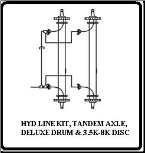 HYD LINE KIT, TANDEM AXLE, DELUXE DRUM & 3.5K-8K DISC (SKU: 9579-2-AU)