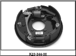 "Complete 10"" x 2-1/4"" hydraulic free backing brake assembly (standard brake shown).  Left Hand. (SKU: K23-344-00)"