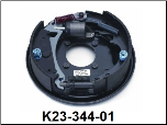 "Complete 10"" x 2-1/4"" hydraulic free backing corrosion resistant brake assembly (standard brake shown).  Left Hand. (SKU: K23-344-01)"