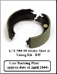 10K HD RH Shoe & Lining Kit 71-500 Cast Backing Plate