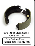 10K HD LH Shoe & Lining Kit 71-501 Cast Backing Plate